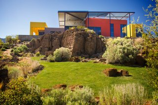 """The Intersection of Art and Architecture Offered for $3.75M - Photo 8 of 8 - The exterior palette of red and yellow recalls the Sierra Nevada range. """"When you combine them, it's an orange, which is the color of life,"""" said Mack. """"The color of universal wellbeing and energy."""""""