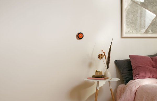 """Nest Learning Thermostats now come in more color options to fit into a larger range of design schemes. The white edition pairs well with Nest Cam Outdoor and complements clean, minimalist spaces; the black option boasts diamond-like carbon coating that resists scratches and repels oil. Finally, the copper version, pictured above, brings warmth to a space. """"It's a conversation starter,"""" says Veron."""
