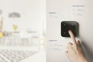 The TouchPanel allows users to assign commands to hand gestures like taps, swipes, circles, and squares. You can also program LED and sound notifications. The basic model of TouchPanel is not detachable while the upgraded version has a magnetic charging station that can move from surface to surface.