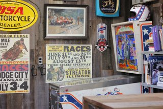 Vintage memorabilia and collector's items decorated Dean's workshop.