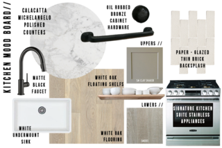 "The kitchen mood board features a unified palette of warm beige, gray, and white; the matte black faucet topping the sink and oil-rubbed bronze cabinet hardware provide a stark contrast. Against this backdrop, stainless steel appliances by Signature Kitchen Suite offer a material and chromatic departure. ""Tell me that's not the swankiest range you've ever laid your eyes on!"" writes Lewis."