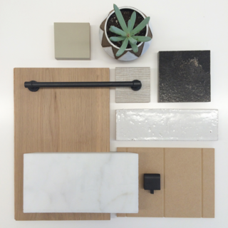 Material samples leap from the mood board into reality.