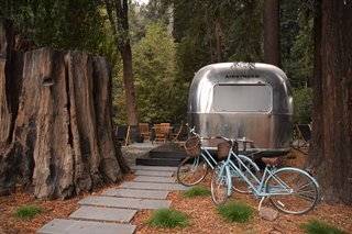 At AutoCamp, Sleep in a Slice of Americana for $225 a Night - Photo 5 of 10 - A thousand-year-old redwood stump abuts an Airstream suite.
