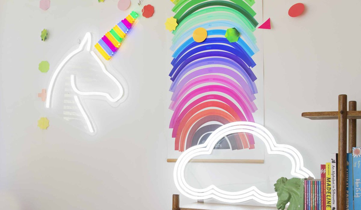 Unicornucopia ($449) and Cloud Nine ($549) grace the bookshelves.  Photo 7 of 8 in Next-Generation Neon