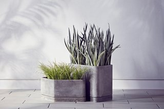 The Large and Small Hexagonal Concrete Planters are $89.99 and $69.99, respectively.