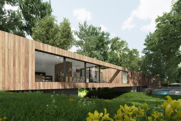 Instead of a typical home that divides public and private space between levels, Bridge House uses the river as a natural demarcation between the two circulations. At the highest point over the river, an outdoor terrace doubles as the fulcrum of the building and provides a connection to the outdoors.