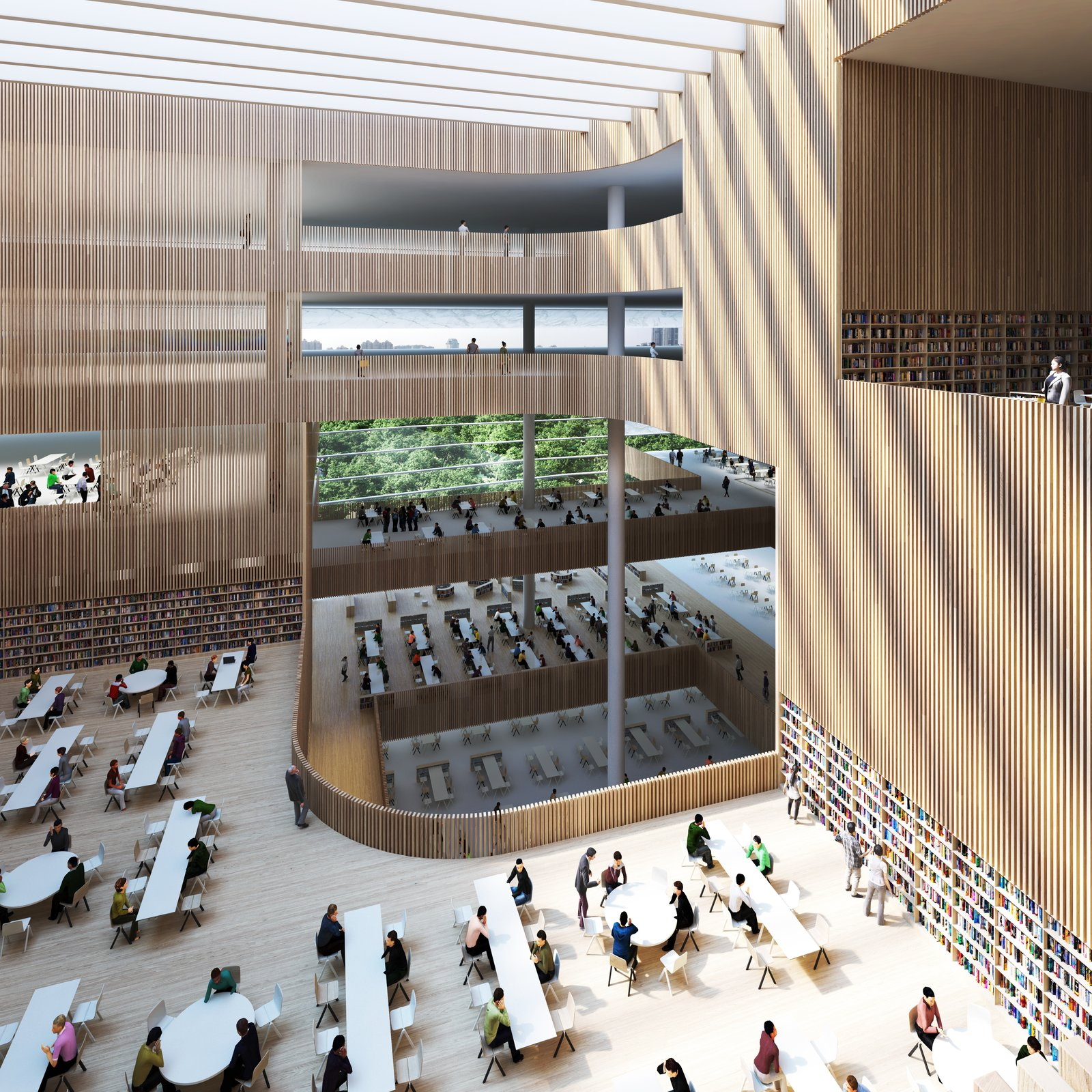 The Shanghai Library will also house the Shanghai Institute of Scientific and Technological Information.  Photo 6 of 8 in Schmidt Hammer Lassen Architects' Winning Design For the Shanghai Library