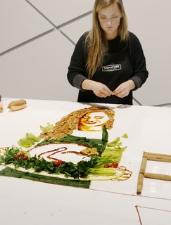 Artist Jessie Bearden's creations transformed this countertop into an evolving edible art display.