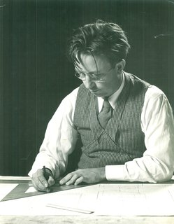 Alden B. Dow works at his drafting table in 1937, the year he wins the Diplome de Grand Prix for residential architecture at the Paris International Exposition. The fifth of Herbert and Grace Dow's seven children, Alden graduated from Midland High School and studied chemical and mechanical engineering at the University of Michigan before leaving for the Columbia University School of Architecture. In 1933, he spent a summer as a Taliesin Fellow under the tutelage of Frank Lloyd Wright, with whom he struck up a lifelong friendship.