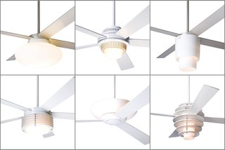 From left to right, top to bottom: the Cloud, Solus, Halo, Pharos, Aurora, and Stella fans with integral lights previously used halogen or compact fluorescent lamps, and will soon be available with LED lighting. Ceiling fans that come with optional light kits will have LED solutions, too.