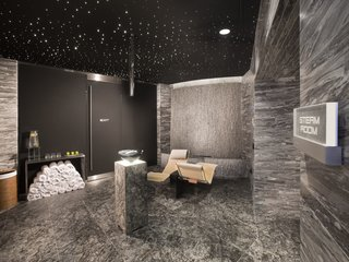 "The state-of-the-art spa includes a steam room and sauna, treatment rooms, and Vichy showers. A fitness center, yoga room, and salon are also in the building. ""Everything is thought out until the end,"" says Jan Becker, CEO of Porsche Design. ""It's designed with a love for detail and the brand."""