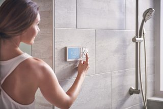 With the U by Moen smartphone app, users can customize up to 12 presets, including name, greeting, outlets, temperature, shower timer, and notifications. Each product has an encrypted key to keep the connection secure, and the Wi-Fi-connected system prevents the showers from being tampered with when the user isn't at home.