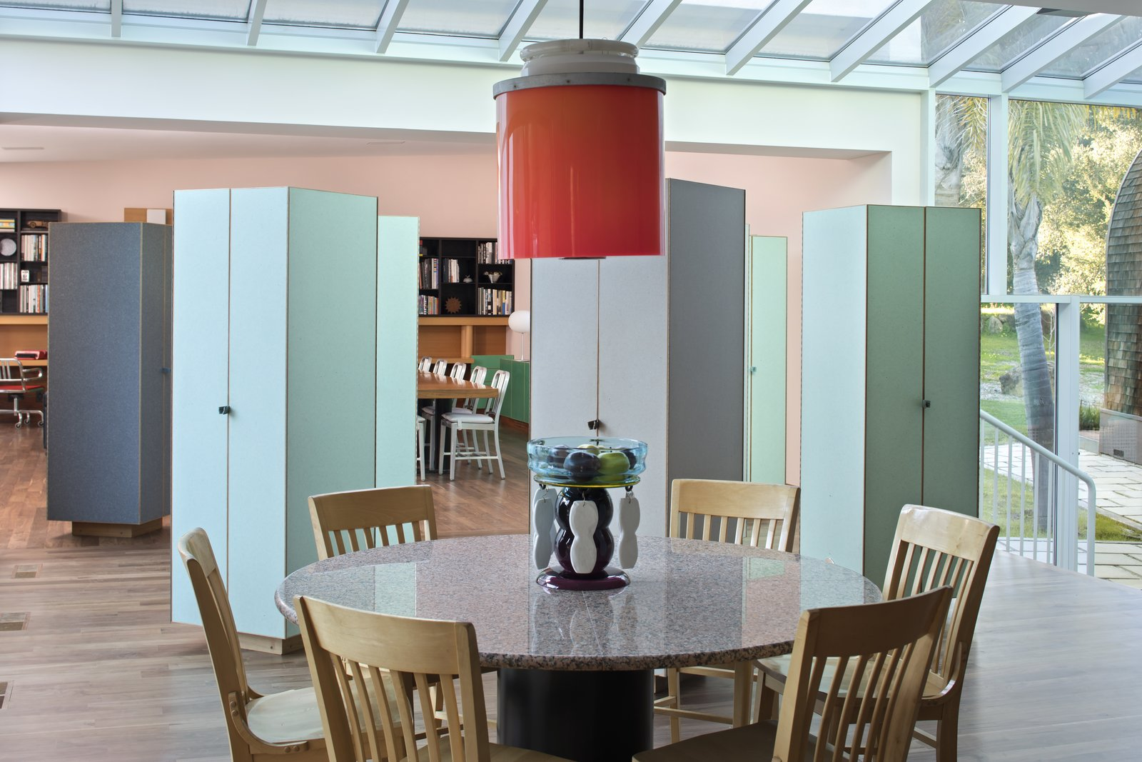 Kelley requested a loft-like space for the main living area, but this idea was also jettisoned by Sottsass. Instead, he installed several cabinets made of plastic laminate made to look like rice paper between the living room and the kitchen. Passing from one area to another, guests move through them as though weaving through a forest. Sottsass told The New York Times,  Photo 4 of 12 in IDEO Founder David Kelley Asks $13.5M For His Ettore Sottsass-Designed Masterpiece