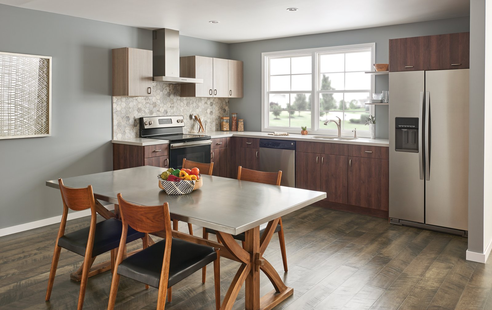 Kitchen, Refrigerator, Range, Range Hood, Wood Cabinet, and Ceramic Tile Backsplashe  Photo 1 of 8 in How to Add a Modern Twist to Any Kitchen Style
