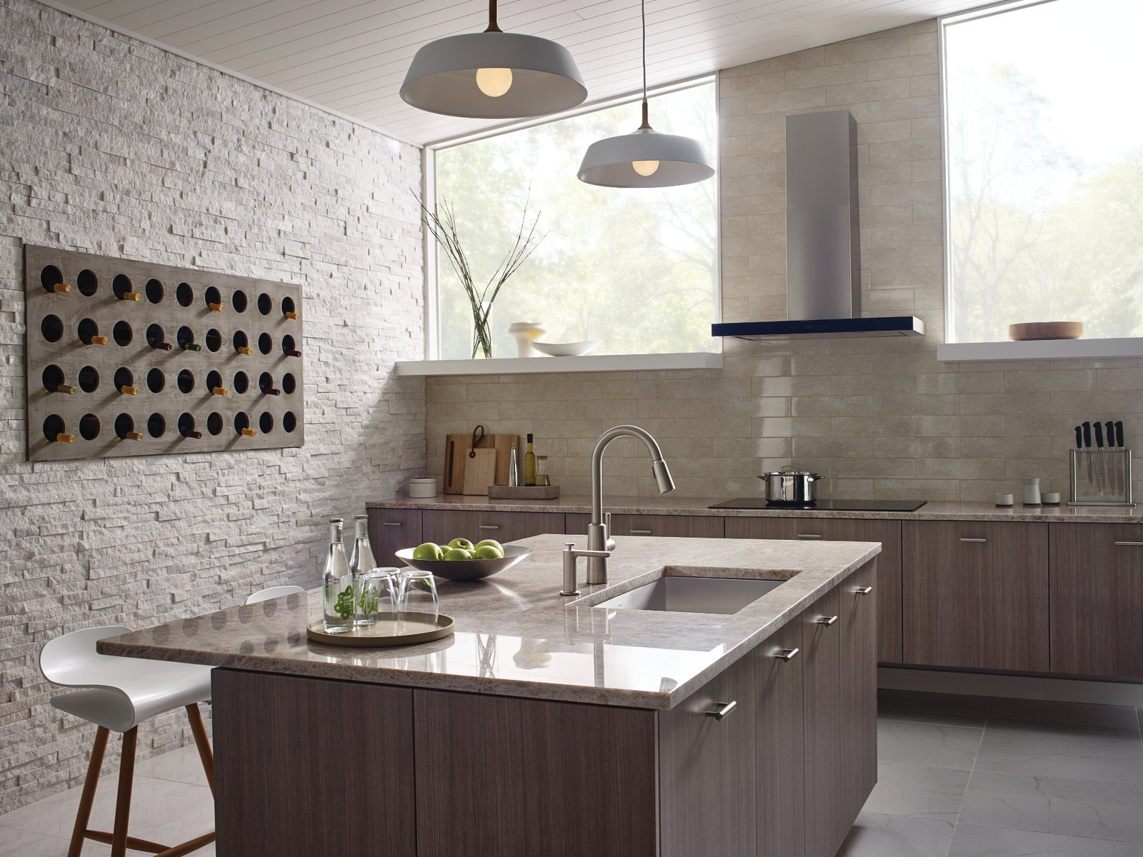 Kitchen, Range Hood, Cooktops, Ceramic Tile Backsplashe, and Wood Cabinet  Photo 3 of 8 in How to Add a Modern Twist to Any Kitchen Style