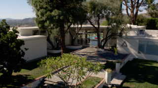 For the headquarters of the Institute of the Higher Mind—the organization that holds Kyle West in its grip—the crew filmed at the Fox Residence in Chatsworth, the stunning midcentury home where Frank Sinatra used to live.