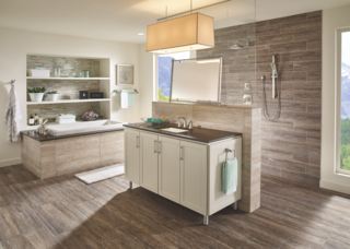 Modern bathroom vanities with undermount sinks require a larger space. This unique bathroom layout works