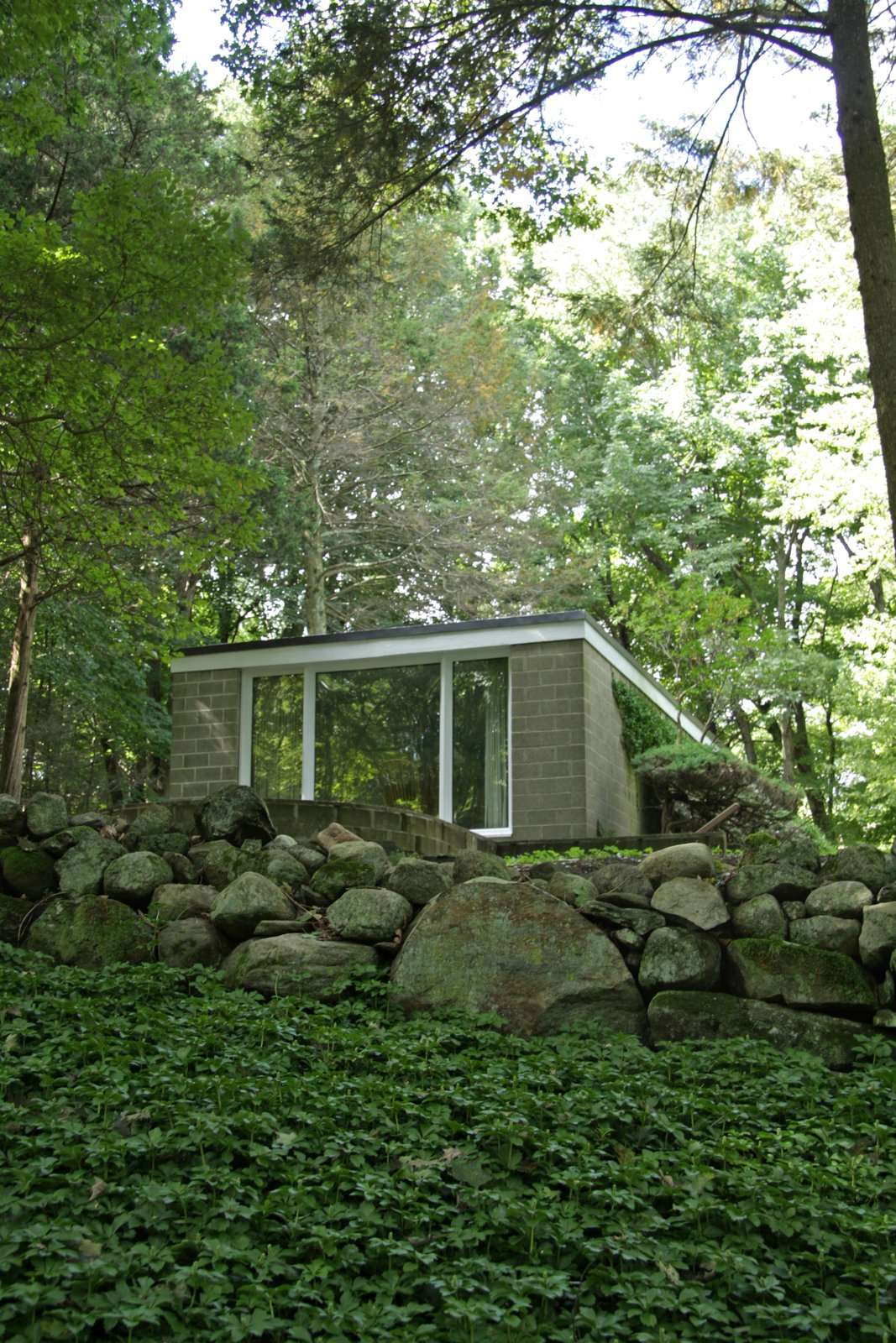 As you approach the home from below, it gives the impression of gradually emerging from the natural landscape.  Photo 10 of 10 in With $1 Million, You Can Save Philip Johnson's First Commissioned House