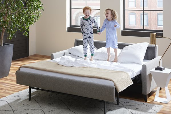 The Comfort Sleeper® is available in 15 different styles and an almost endless number of configurations, including sectionals. Choose from seven mattress sizes ranging from cot to king, three premium mattress options, and hundreds of upholstery choices including leather and performance fabrics by Crypton®, Sunbrella®, and Ultrasuede®. The Hannah Comfort Sleeper®, pictured above, has shapely wooden legs that mirror the slight curve of the inside arm, creating a soft, tailored look.