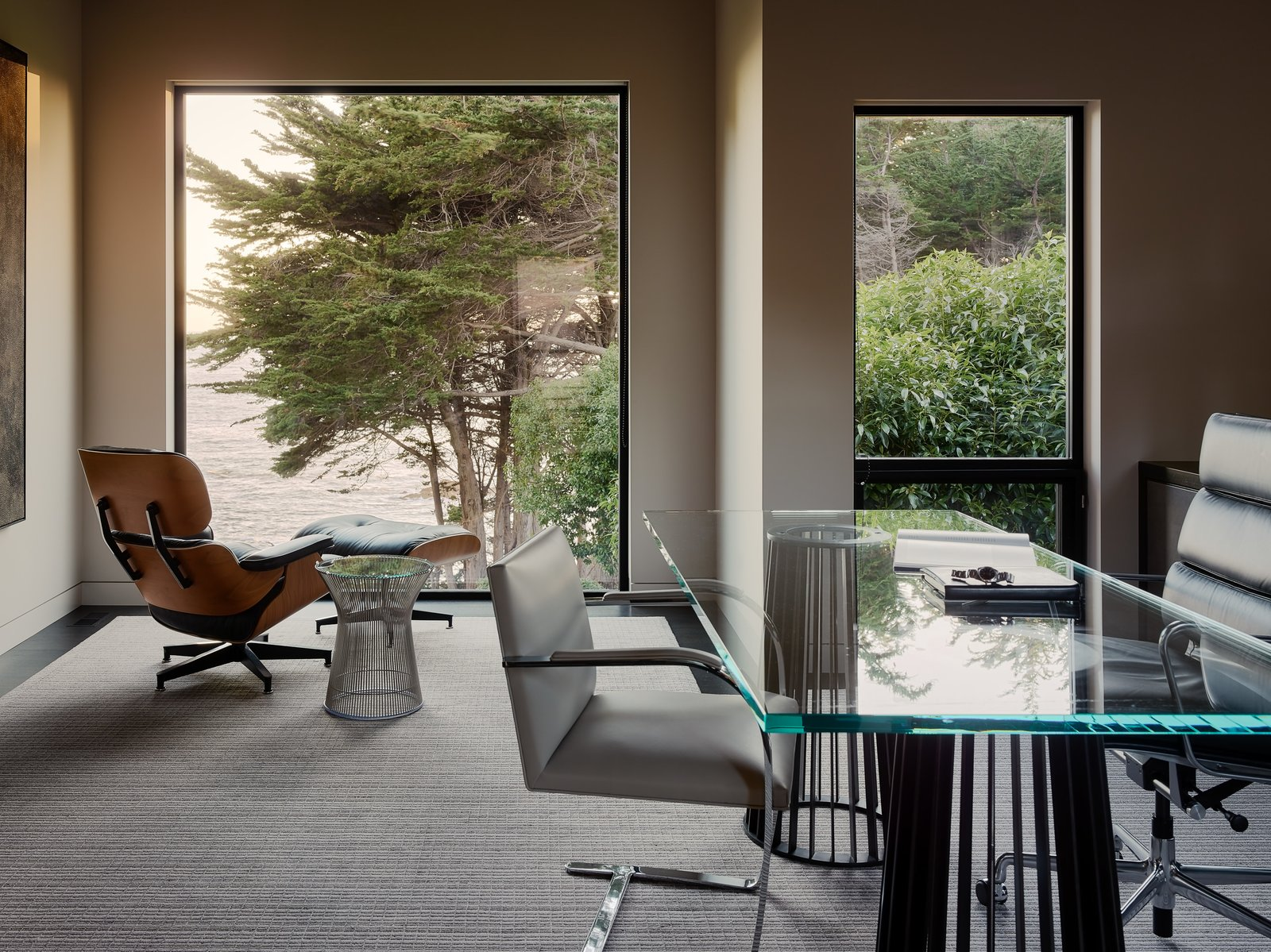 Office, Chair, Desk, Rug Floor, Study Room Type, and Dark Hardwood Floor  Photo 8 of 15 in This Renovated Sea Ranch Retreat Is an Absolute Must-See