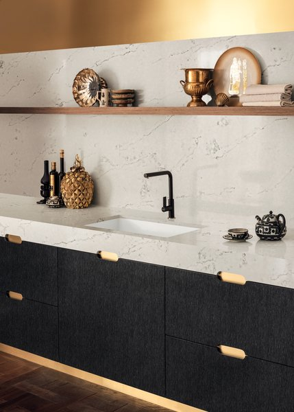 In this urban townhouse, a Zodiaq® London Sky countertop wraps the wall behind it to become the backsplash, providing a polished backdrop for design details and vignettes. Its muted color complements dark wood cabinets and rich, metallic accents.