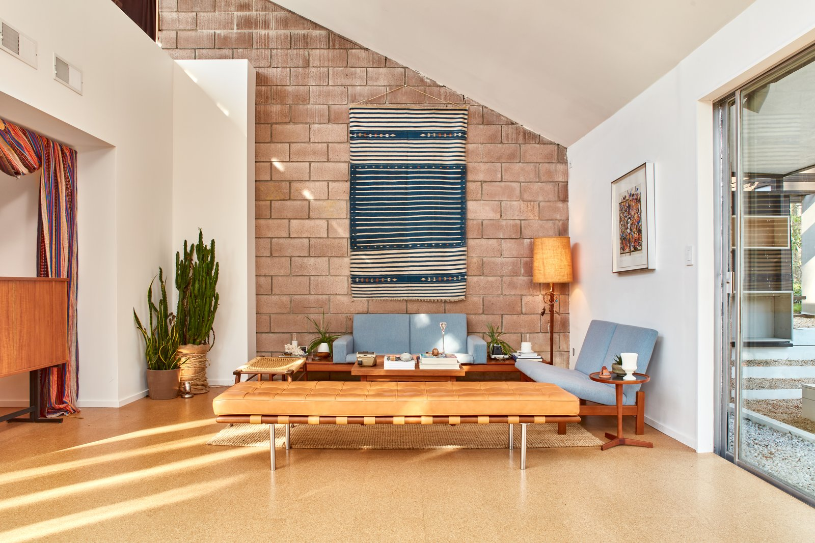 Living Room, Bench, Sofa, and Floor Lighting  Photo 4 of 13 in The Stunningly Restored Hassrick Residence by Richard Neutra Hits the Market at $2.2M