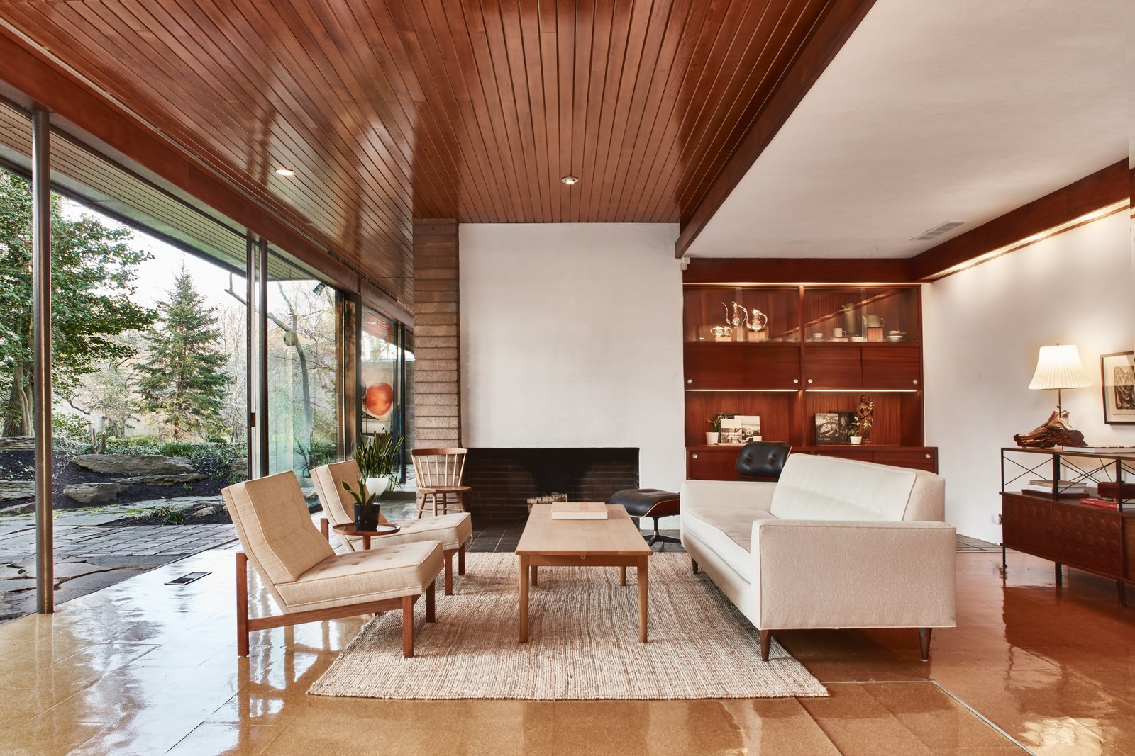 Living Room, Chair, Sofa, Recessed Lighting, and Standard Layout Fireplace  Photo 2 of 13 in The Stunningly Restored Hassrick Residence by Richard Neutra Hits the Market at $2.2M
