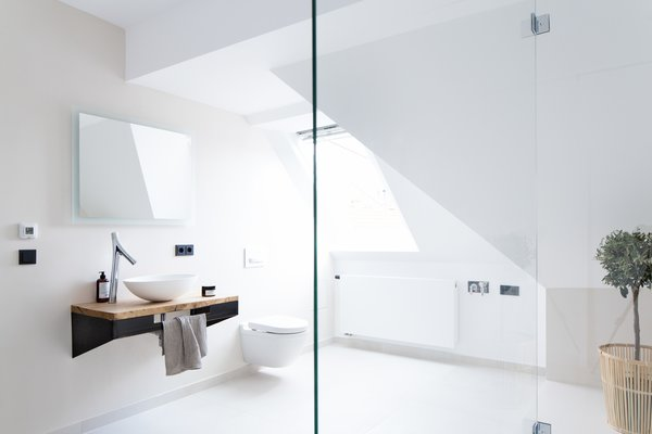 Bed, Table, Chair, and Open Shower  Photo 11 of 13 in This Modern Loft For Sale Will Have You Dreaming of Berlin