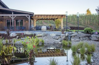 Landscaped ponds create a charming outdoor setting.