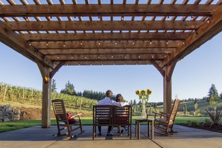 The Barrel House tasting room serves as a community center for Tumwater. The new pergola creates an outdoor room that can play host to wine tastings and private events.