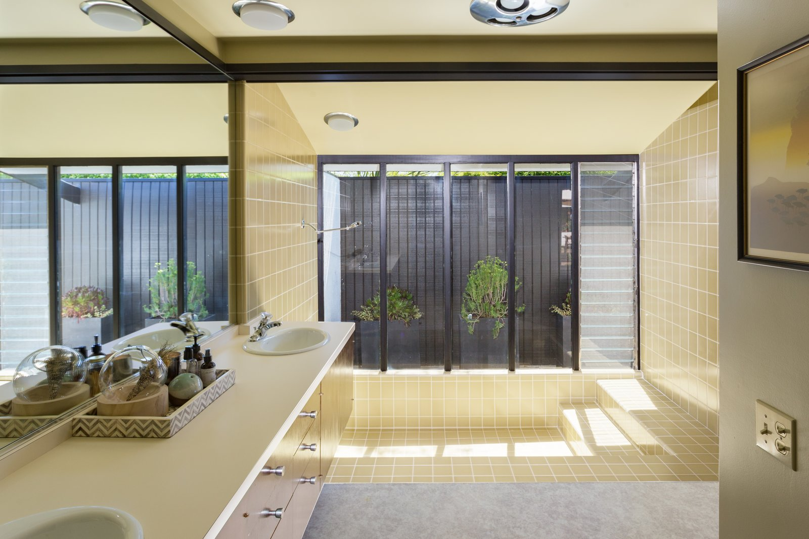 Bath Room and Open Shower  Photo 9 of 14 in Offered at $899K, a Restored Midcentury Abode Shines in Southern California