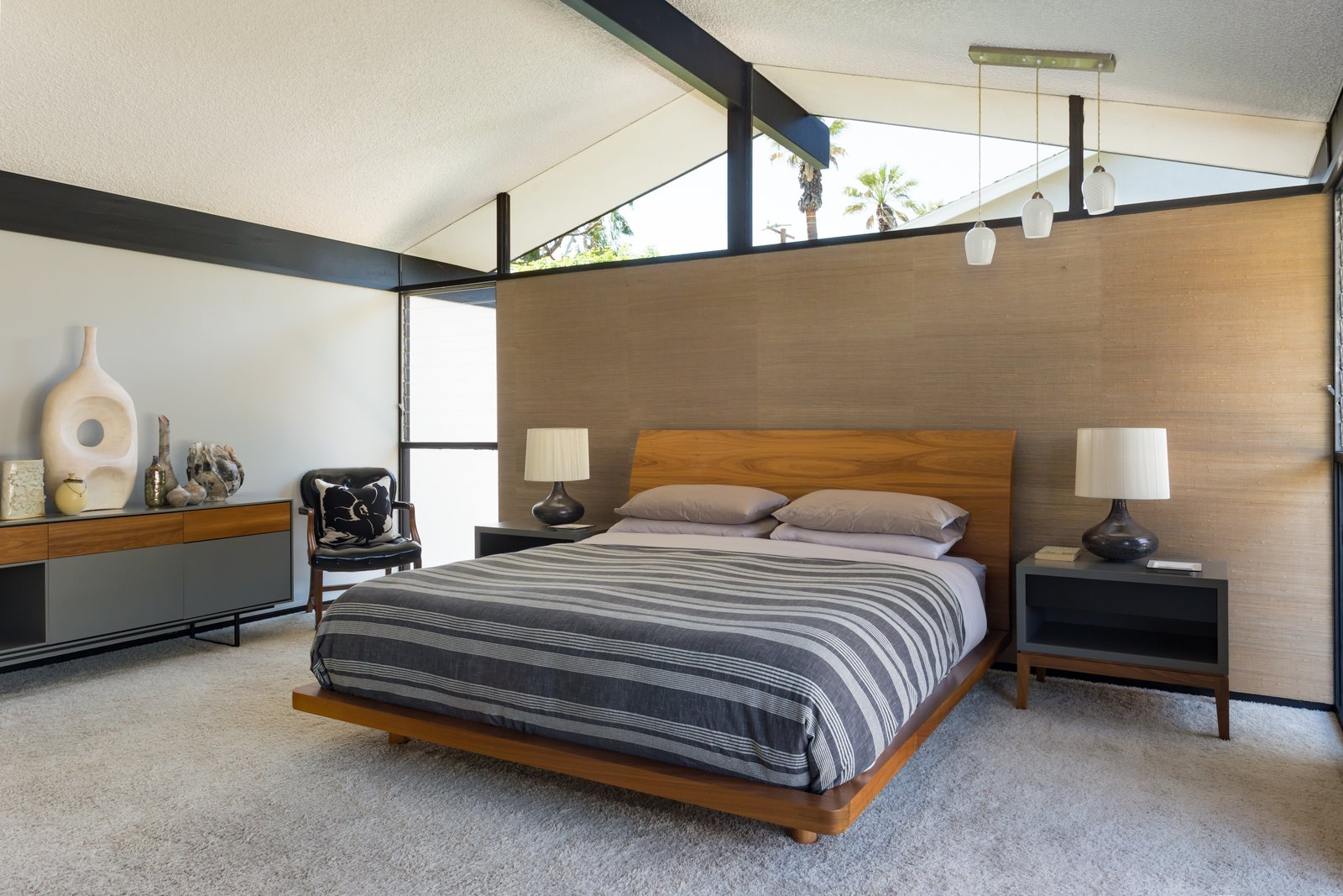 Bedroom, Dresser, Night Stands, Chair, Bed, Table Lighting, and Pendant Lighting  Photo 8 of 14 in Offered at $899K, a Restored Midcentury Abode Shines in Southern California