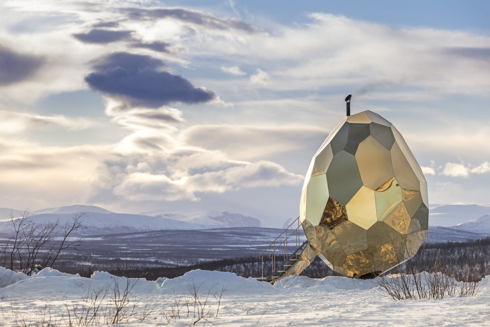 Photo 1 of 6 in A Golden, Egg-Shaped Sauna Signifies the Rebirth of a Swedish Mining Town