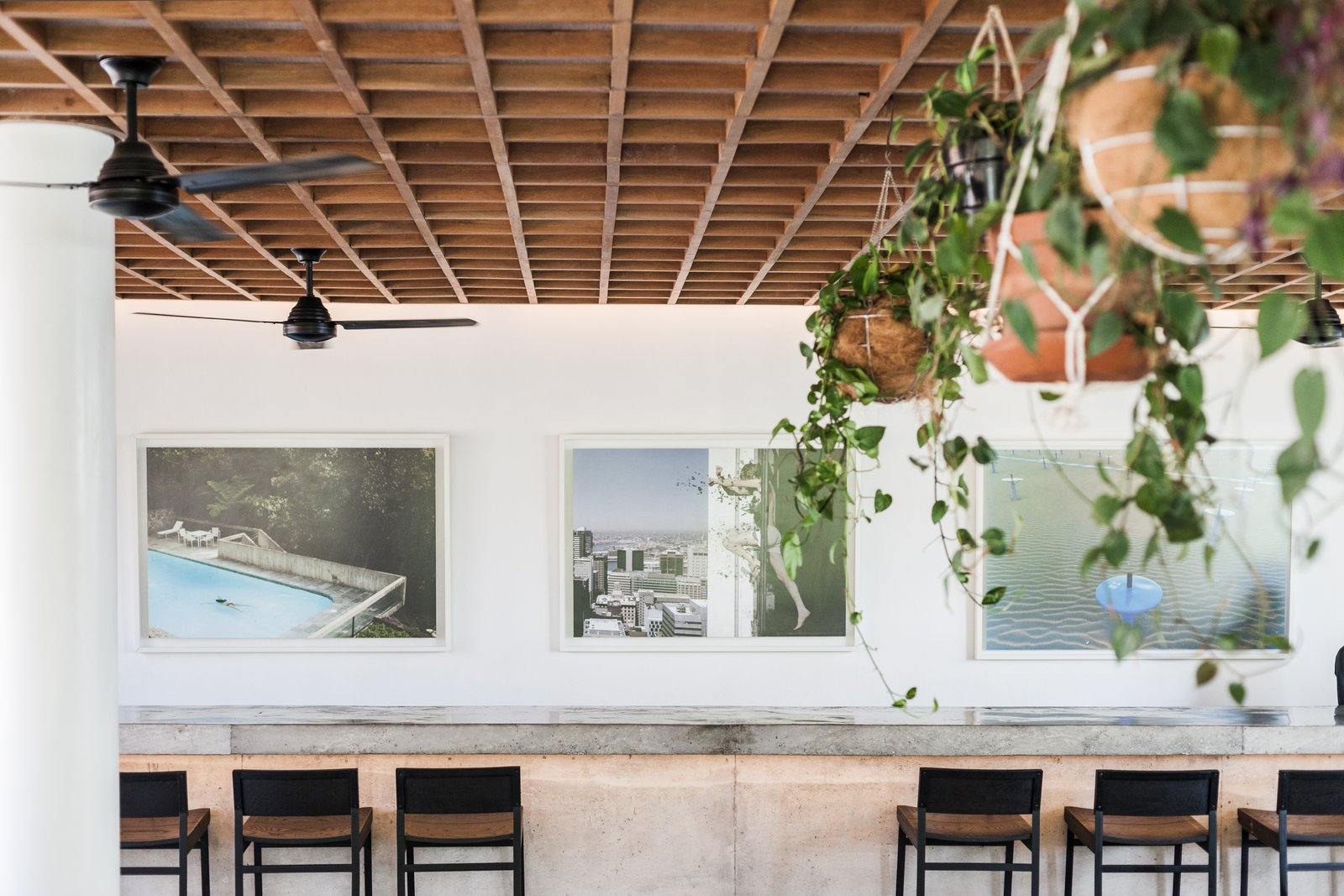 Dining Room, Stools, and Bar  The Slow from Go Beyond the Basics in an Australian Fashion Designer's Surf-Inspired Bali Hotel