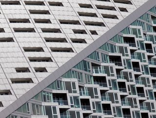"""The Diagonal: """"Two [facades] on the same side of a building on Manhattan's west side."""""""