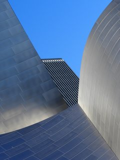 """Disney and Neighbor. """"So much happening in a single city block,"""" notes Olic. """"Reflective, disorienting, dimensionless, otherworldly Frank Gehry's Walt Disney Hall, which hosts the Los Angeles Philharmonic, conducted by Gustavo Dudamel."""""""