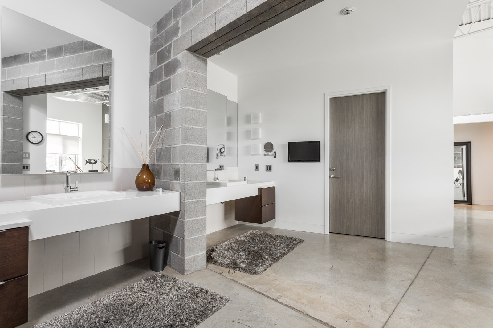 Bath Room, Concrete Floor, and Drop In Sink  Photo 11 of 12 in A Converted Ink Factory in Downtown Indianapolis Asks $2.6M