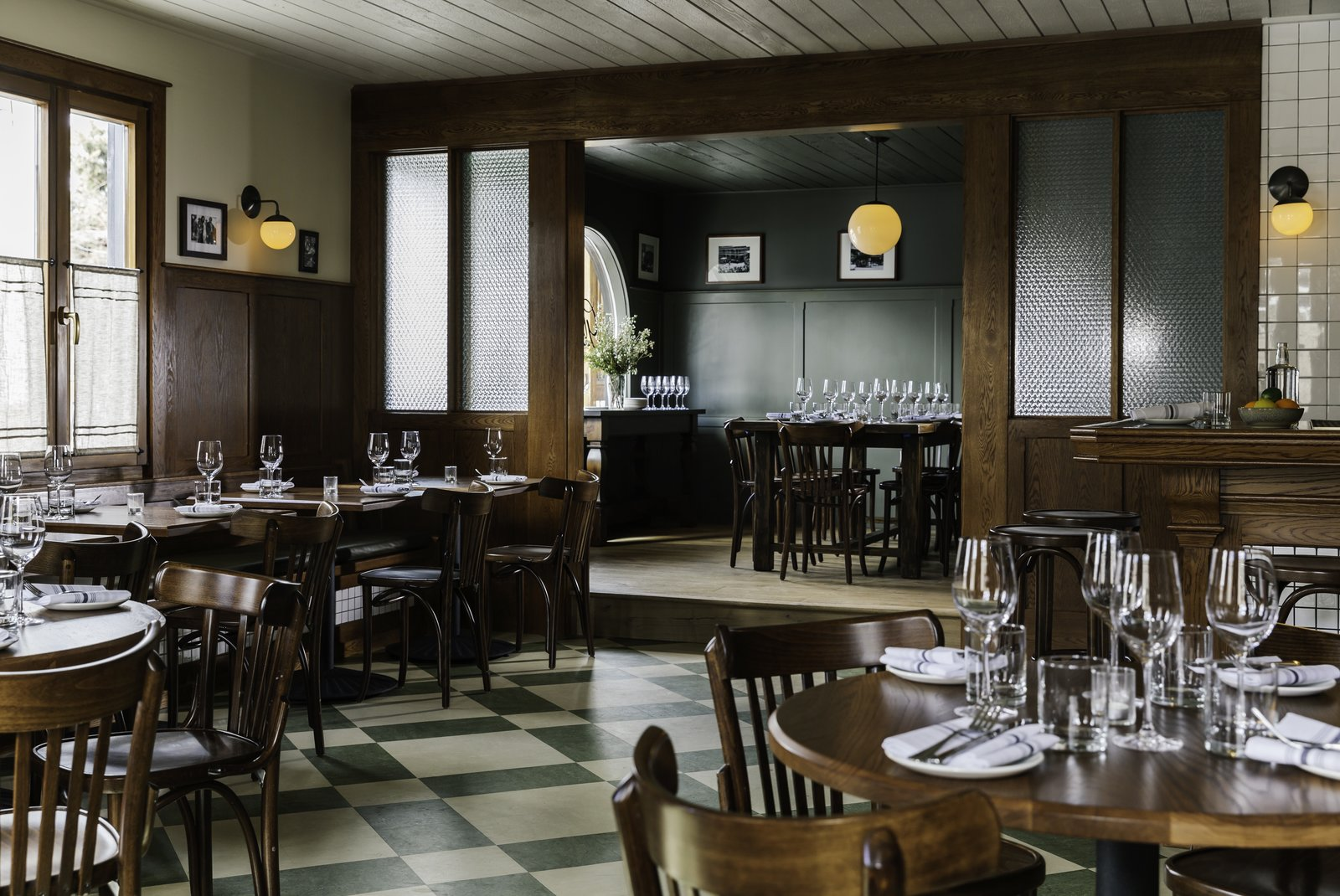Dining Room, Chair, Pendant Lighting, Wall Lighting, Stools, Table, and Bar  Photo 9 of 12 in Classic West Meets Contemporary Cool at the Anvil Hotel in Jackson, Wyoming