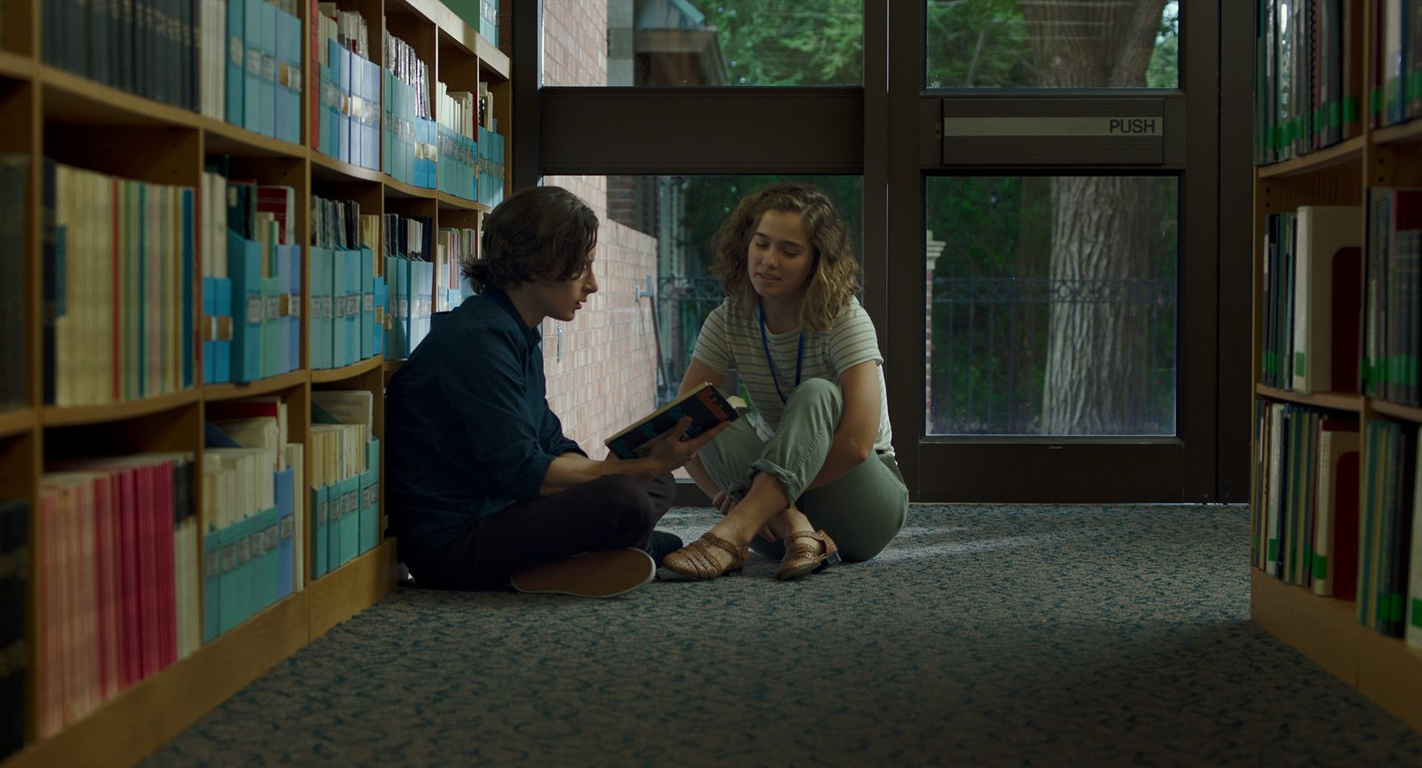 """Casey (Haley Lu Richardson) and Gabe (Rory Culkin) work at the Cleo Rogers Memorial Library designed by I.M. Pei.  Photo 3 of 8 in In the Indie Debut """"Columbus,"""" Midcentury Architecture Stars Beside John Cho"""