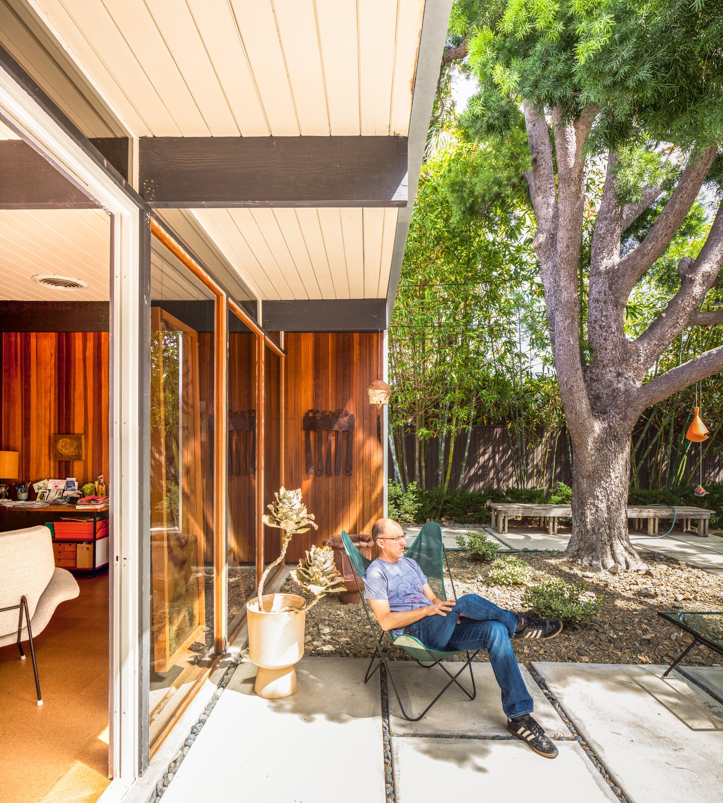 Tagged: Outdoor, Small Patio, Porch, Deck, Trees, Concrete Patio, Porch, Deck, and Pavers Patio, Porch, Deck.  Photo 6 of 10 in A Stunningly Restored Midcentury by Case Study Architect Craig Ellwood Asks $800K in San Diego