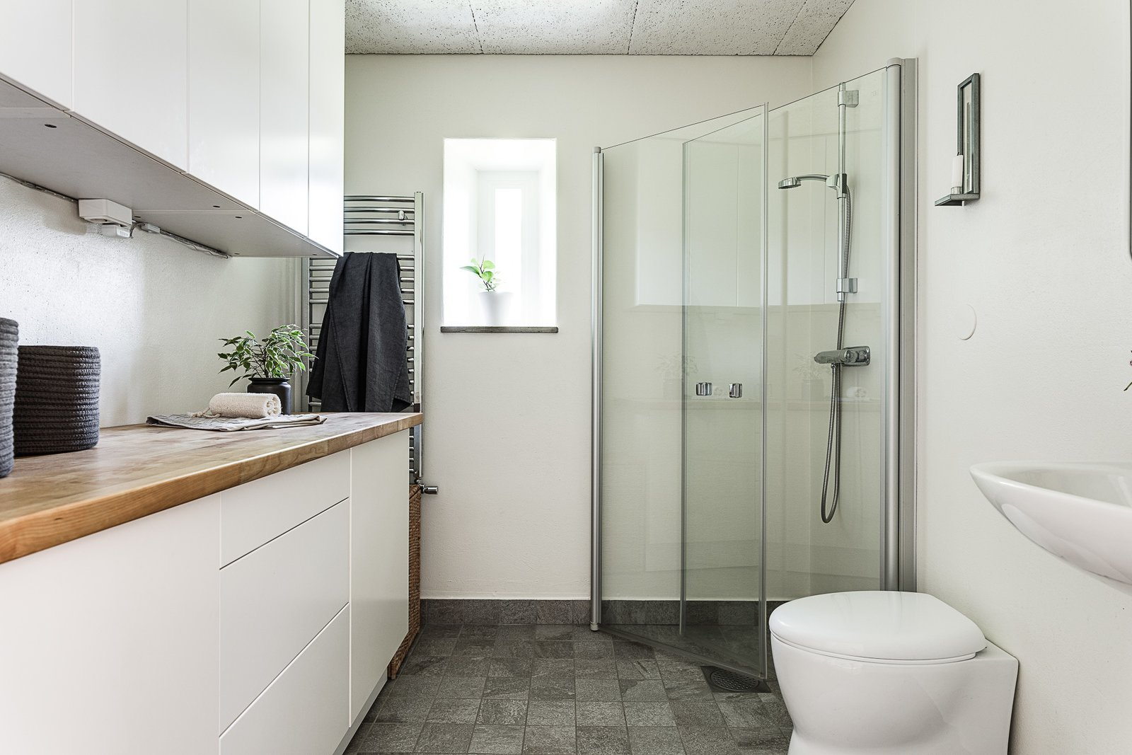Bath Room, Open Shower, and Wood Counter  Photo 7 of 12 in Make This Enchanting Swedish Greenhouse Your Home For $864K