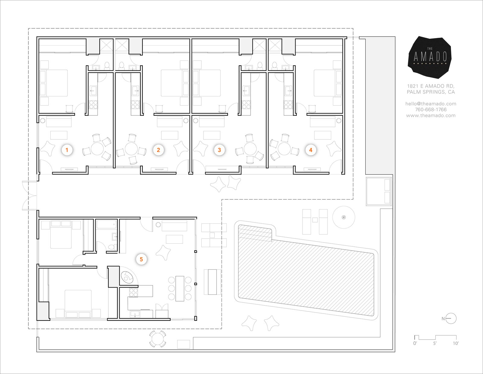 The Amado hotel floorplan.