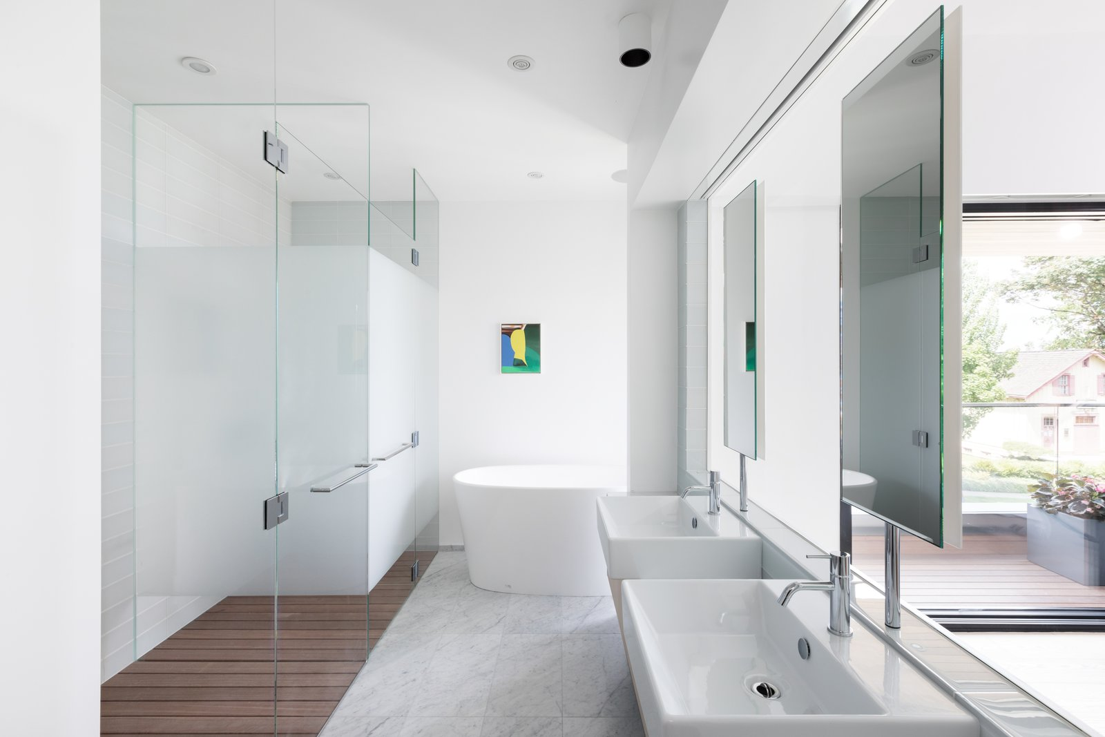 Bath, Full, Freestanding, Wall Mount, Medium Hardwood, Ceiling, Recessed, and Marble  Best Bath Ceiling Medium Hardwood Wall Mount Recessed Marble Photos from Wrapped in Galvanized Steel, 'Cube House' in Vancouver Asks $12.8M