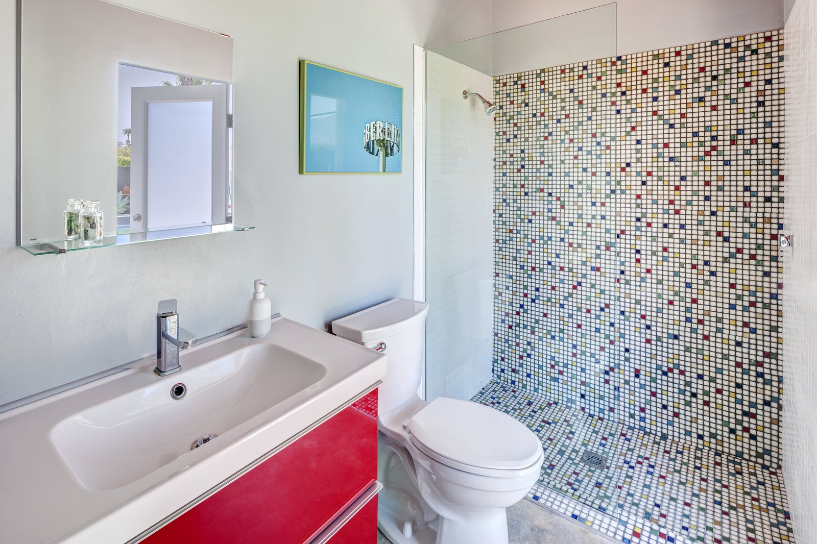 Bath, Undermount, Open, Two Piece, Full, and Concrete  Bath Two Piece Undermount Photos from A Donald Wexler-Designed Midcentury Home in Palm Springs Asks $599K