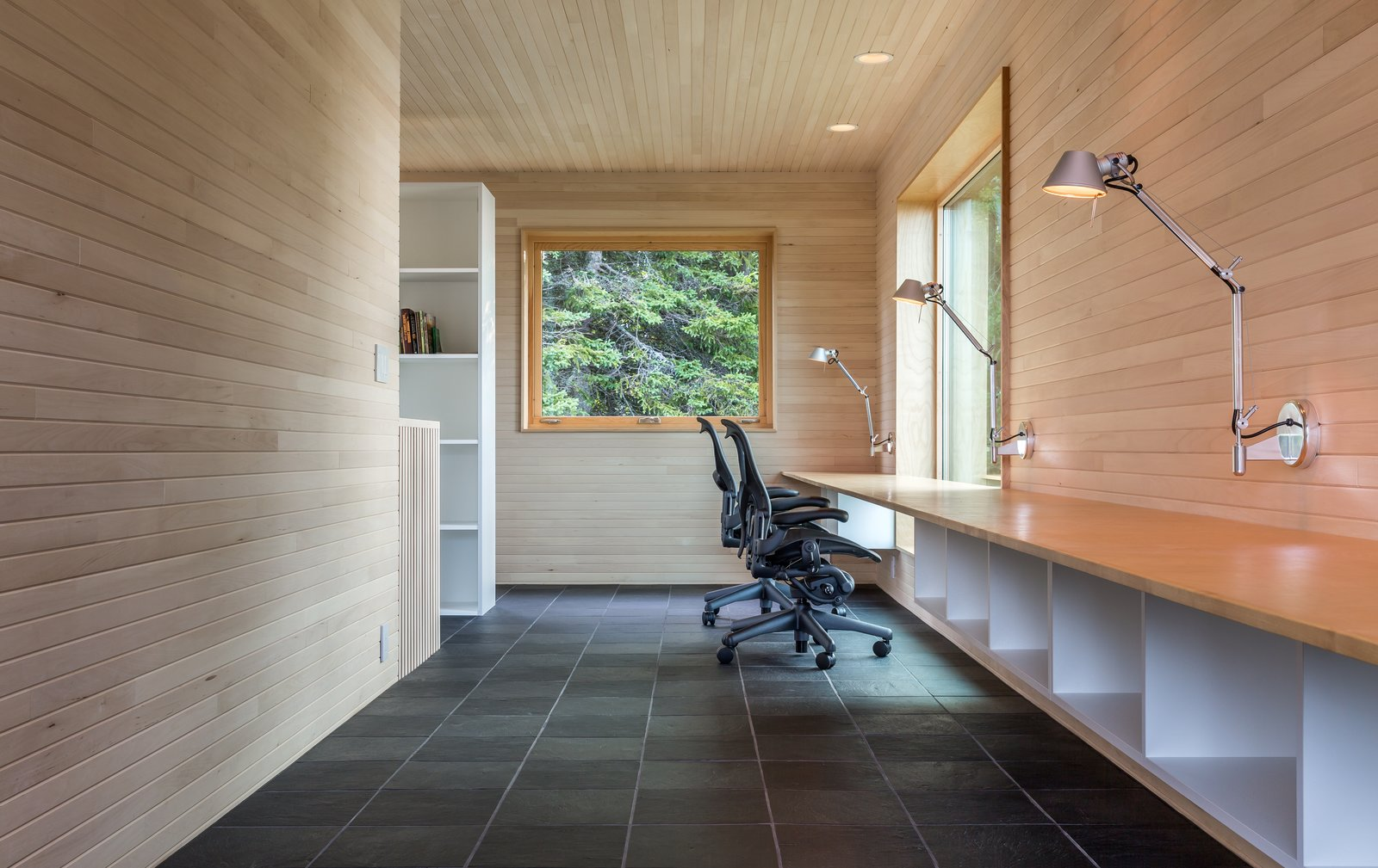 Office, Study, Chair, Bookcase, Storage, Desk, Lamps, and Slate  Best Office Slate Lamps Photos from A Lake Superior Escape With a Whitewashed Masonry Sauna