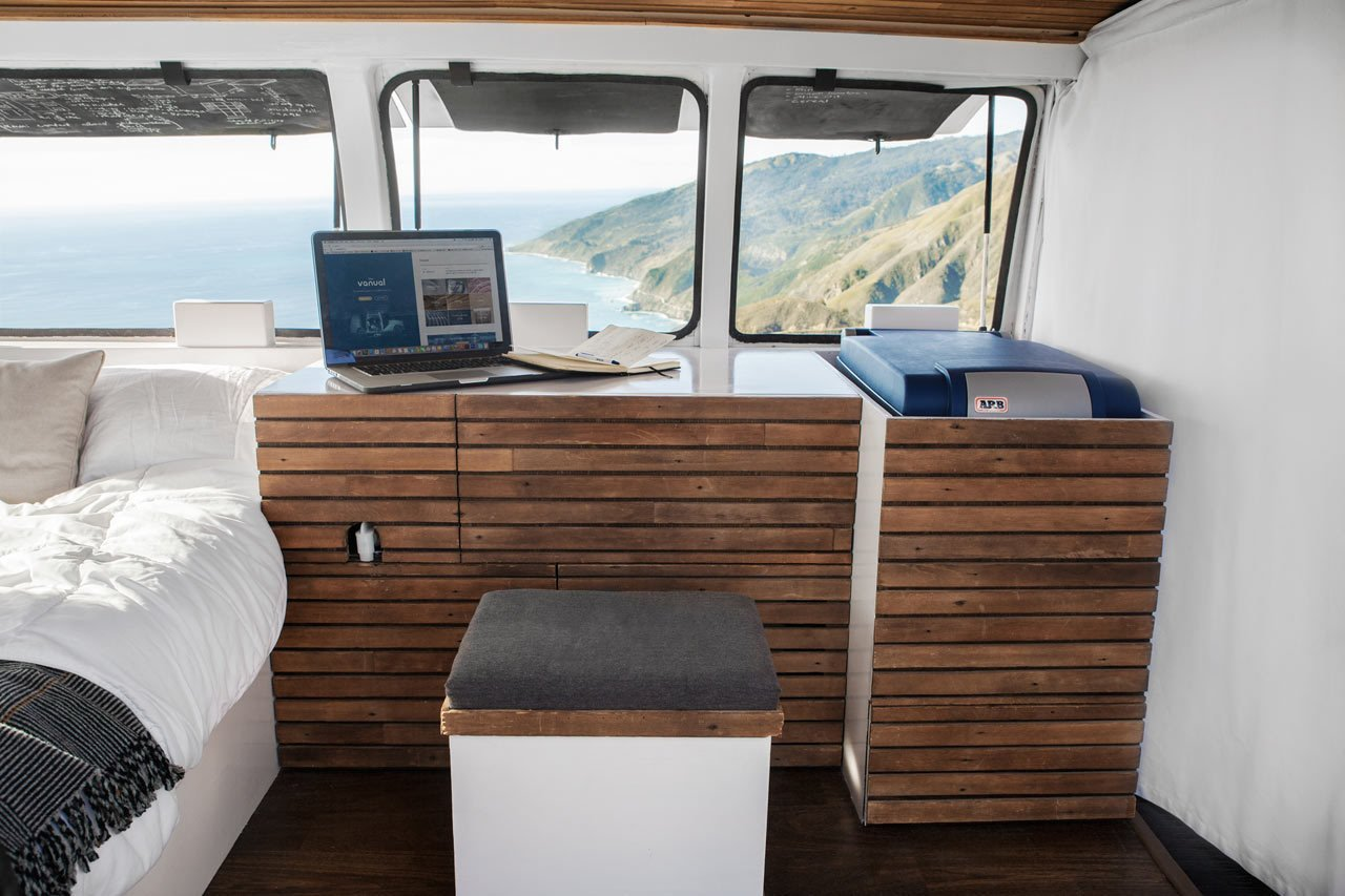 Cargo Van Mobile Studio bedroom with storage made out of repurposed wood