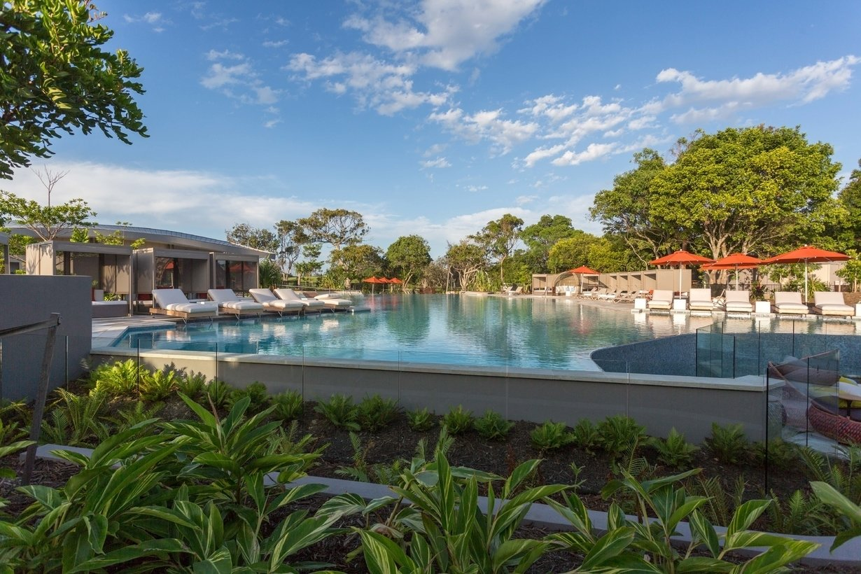 Outdoor, Back Yard, Shrubs, Trees, Swimming Pools, Tubs, Shower, Gardens, Large Patio, Porch, Deck, and Large Pools, Tubs, Shower  Photo 9 of 10 in An Eco-Friendly Resort in Idyllic Byron Bay, Australia