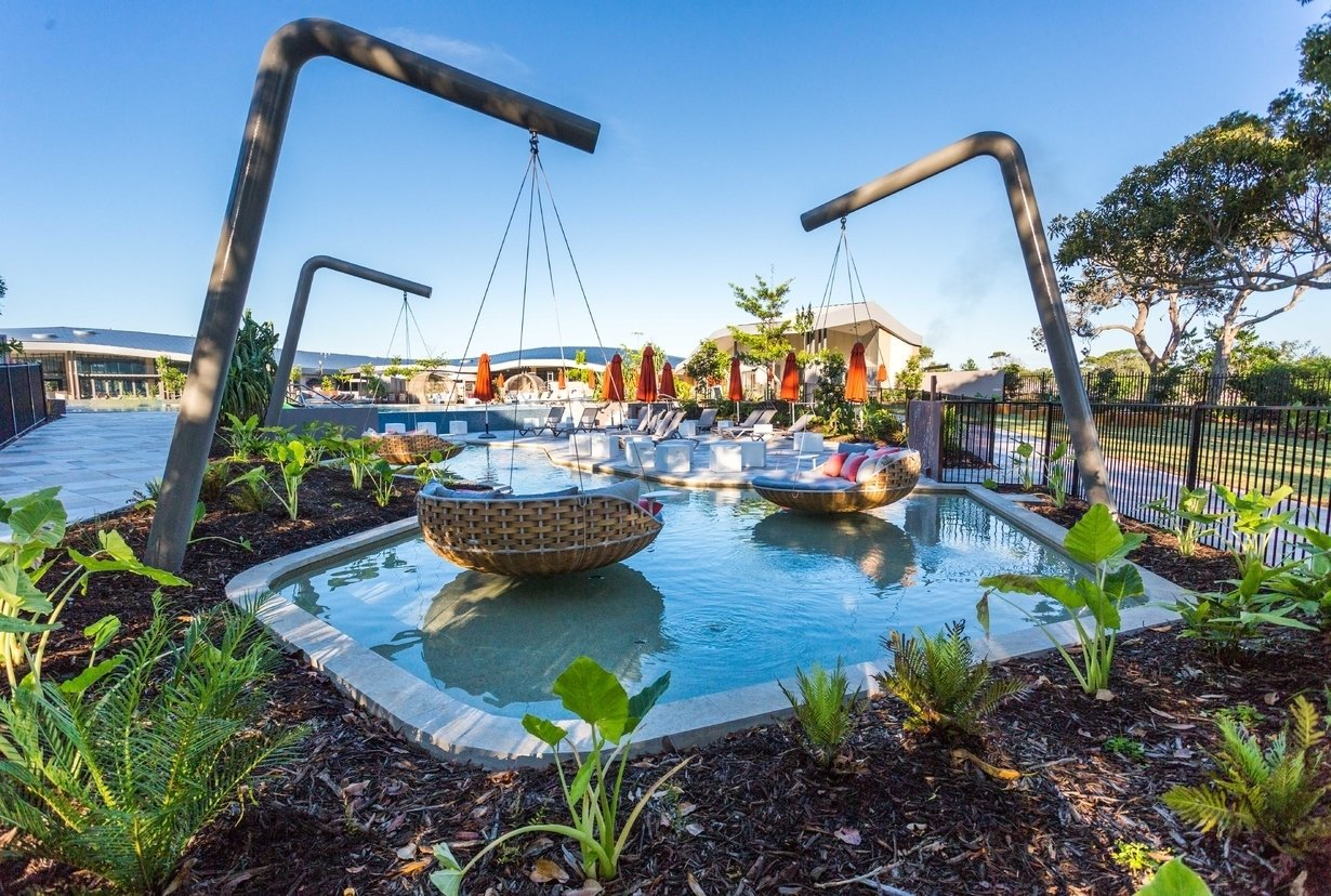 Outdoor, Swimming Pools, Tubs, Shower, Large Pools, Tubs, Shower, Large Patio, Porch, Deck, Back Yard, and Shrubs  Photo 10 of 10 in An Eco-Friendly Resort in Idyllic Byron Bay, Australia