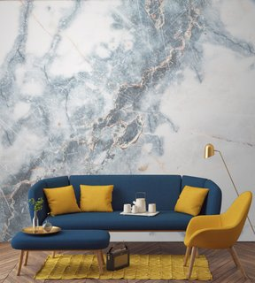 7 Wallpaper Designs That Will Instantly Revamp Your Space - Photo 7 of 14 - This marble-inspired wallpaper above brings a touch of natural elegance to the sitting area.