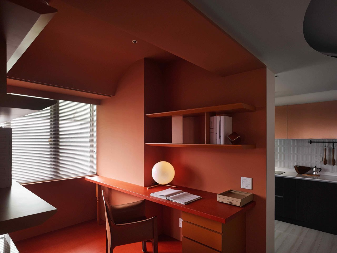 Office, Chair, Shelves, and Desk  Photos from A Colorful Apartment Inspired by Paper Patterns Used in Fashion